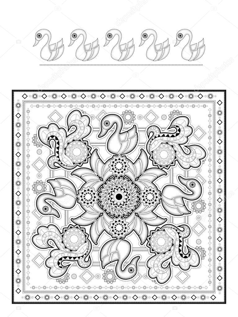 Elegante Zwaan Kleurplaat Stockvector C Kchungtw 107570550