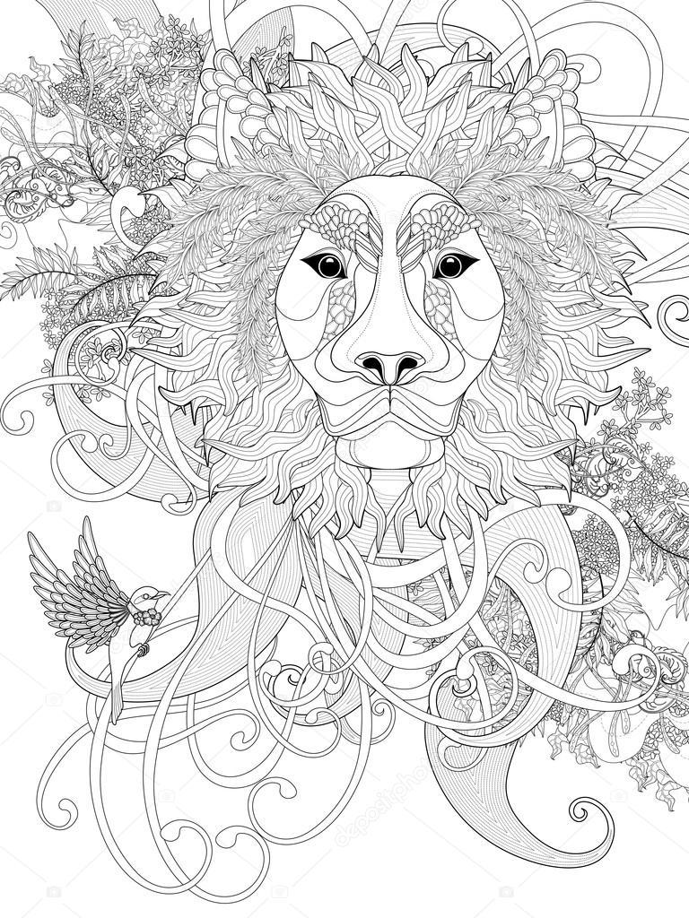 coloriage lion prestigieux image vectorielle