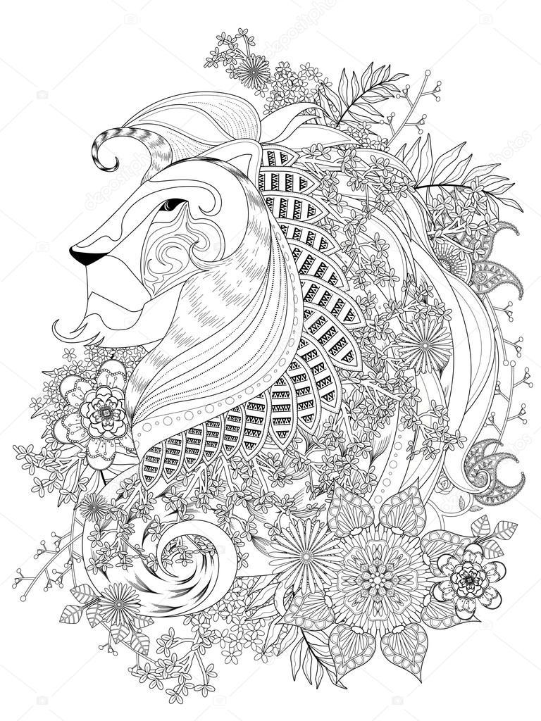 Volwassen Kleurplaat Bloemen Volwassen Kleurplaat Leeuw Stockvector 169 Kchungtw 107572592