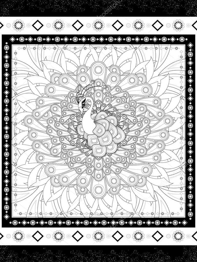 Página para colorear de pavo real hermoso — Vector de stock ...