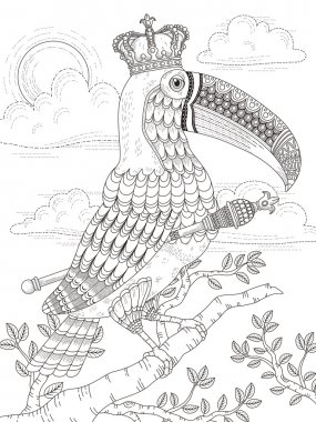 king toucan adult coloring page
