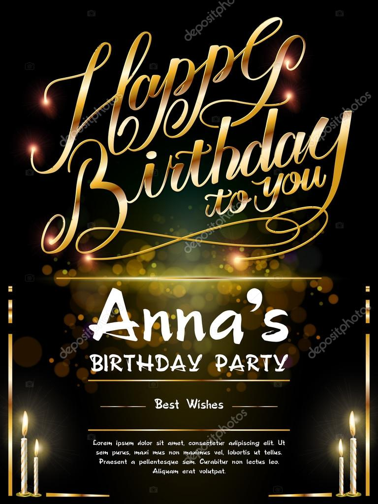 B day poster designs - Gorgeous Happy Birthday Poster Template Design With Golden Words Vector By Kchungtw