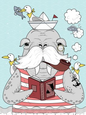 sailor walrus adult coloring page