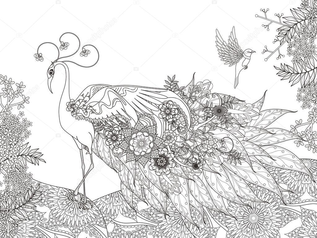Página para colorear de flores de la pluma del pavo real — Archivo ...
