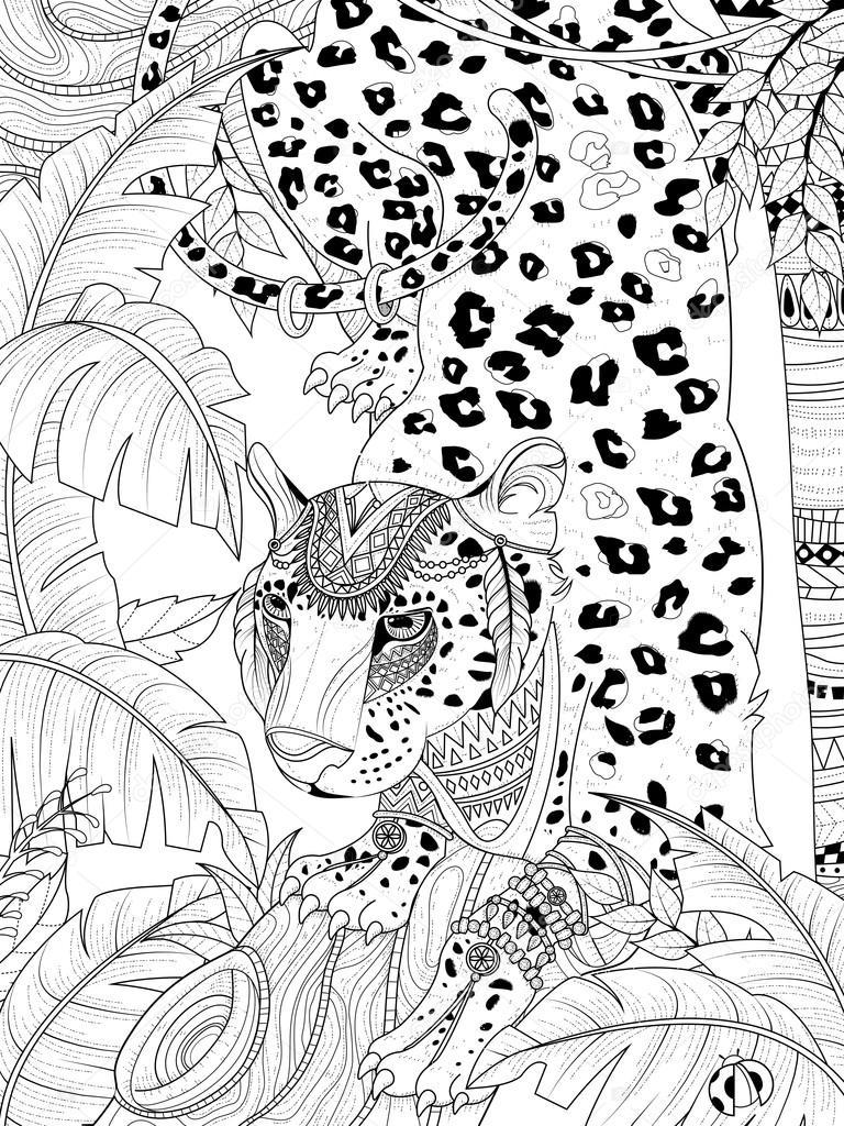 Oerwoud Kleurplaat Dżungla Lampart Barwienia Stronę Grafika Wektorowa