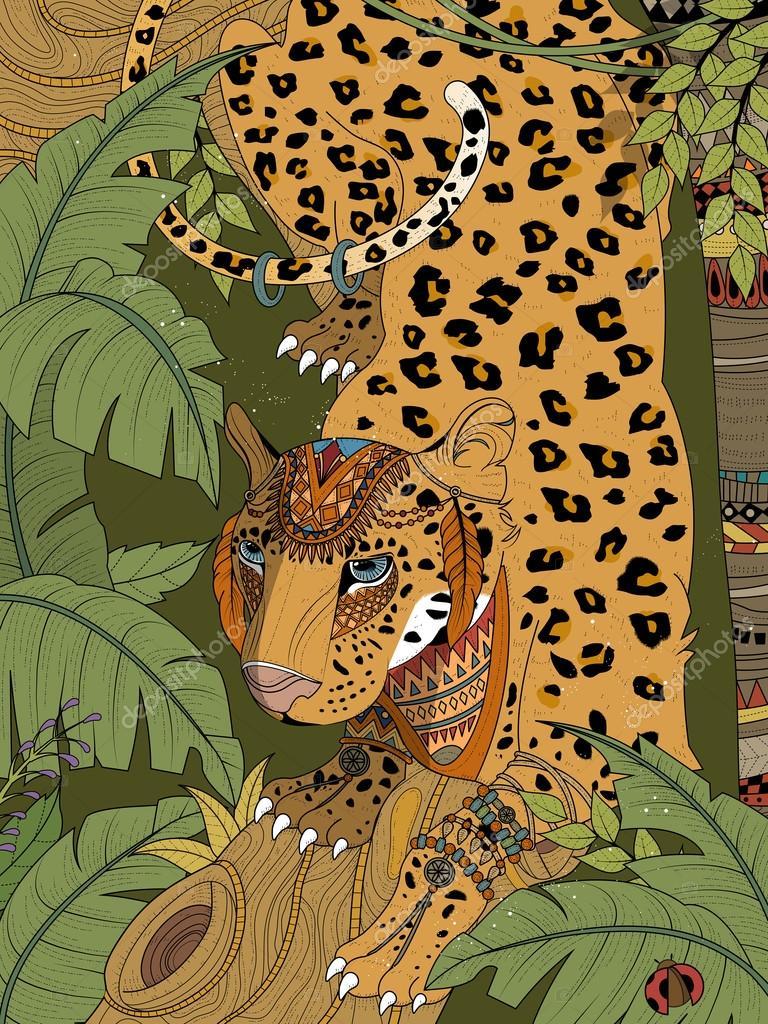 Jungle Luipaard Kleurplaat Stockvector C Kchungtw 108677410