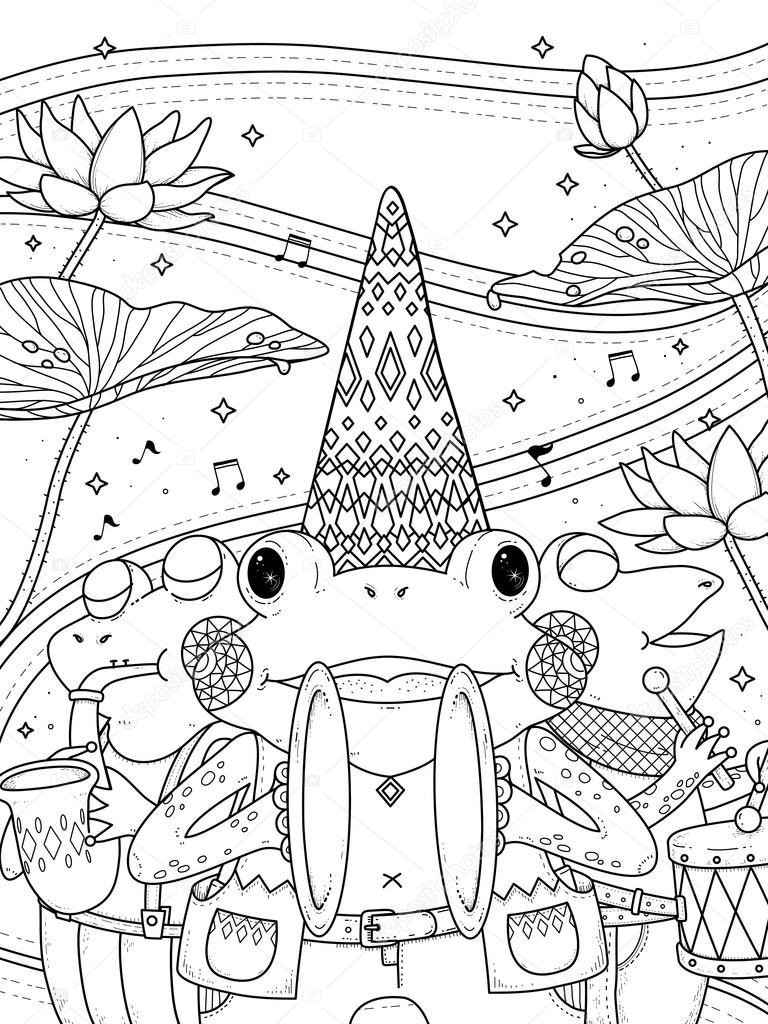 frogs music band adult coloring page — Stock Vector © kchungtw ...