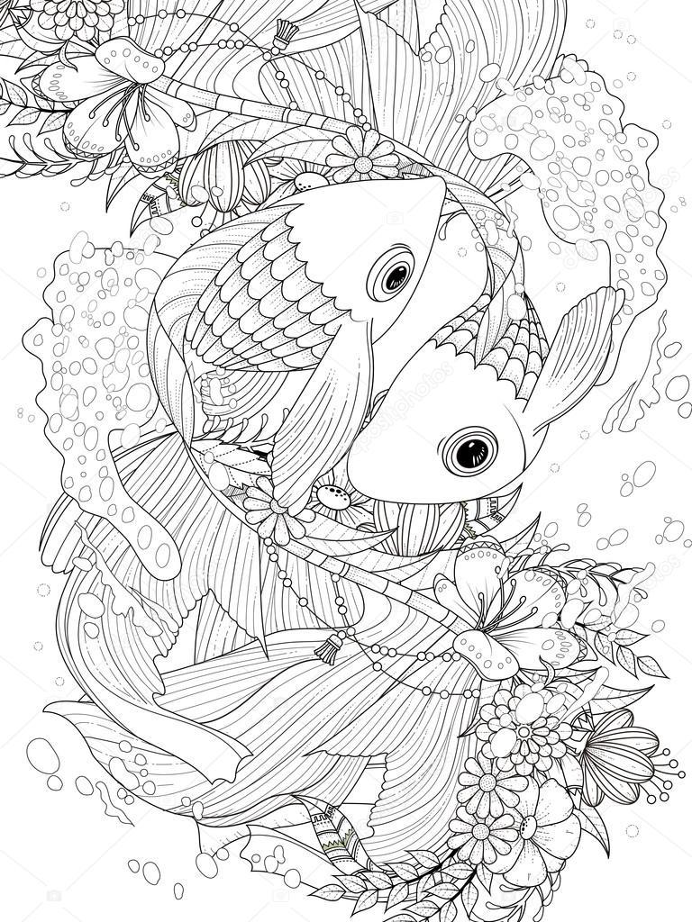 Página para colorear de peces de colores elegante pareja — Vector de ...