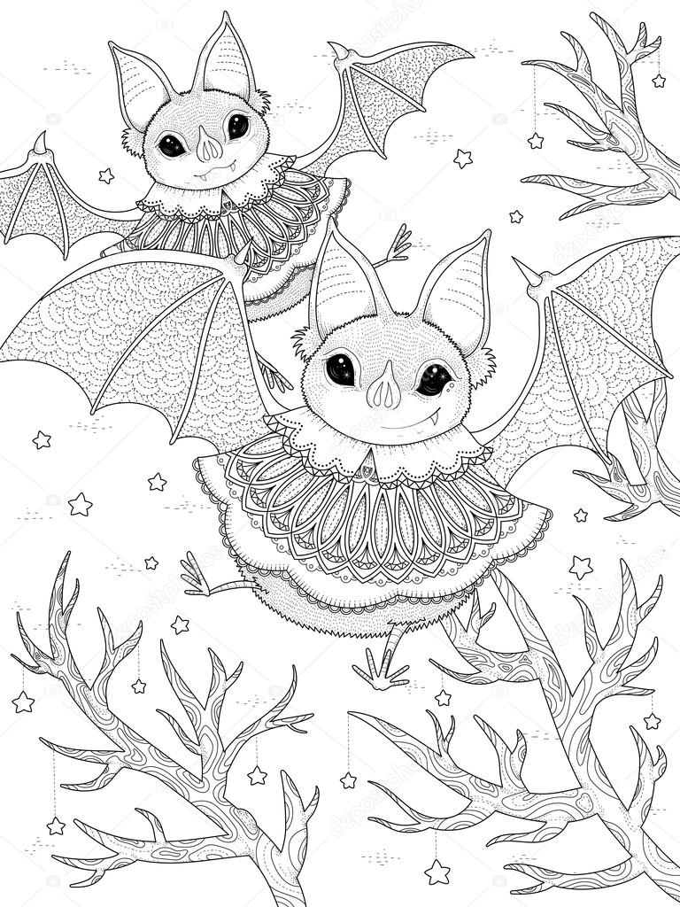 Adulto Da Colorare Pipistrello Incantevole Vettoriali Stock