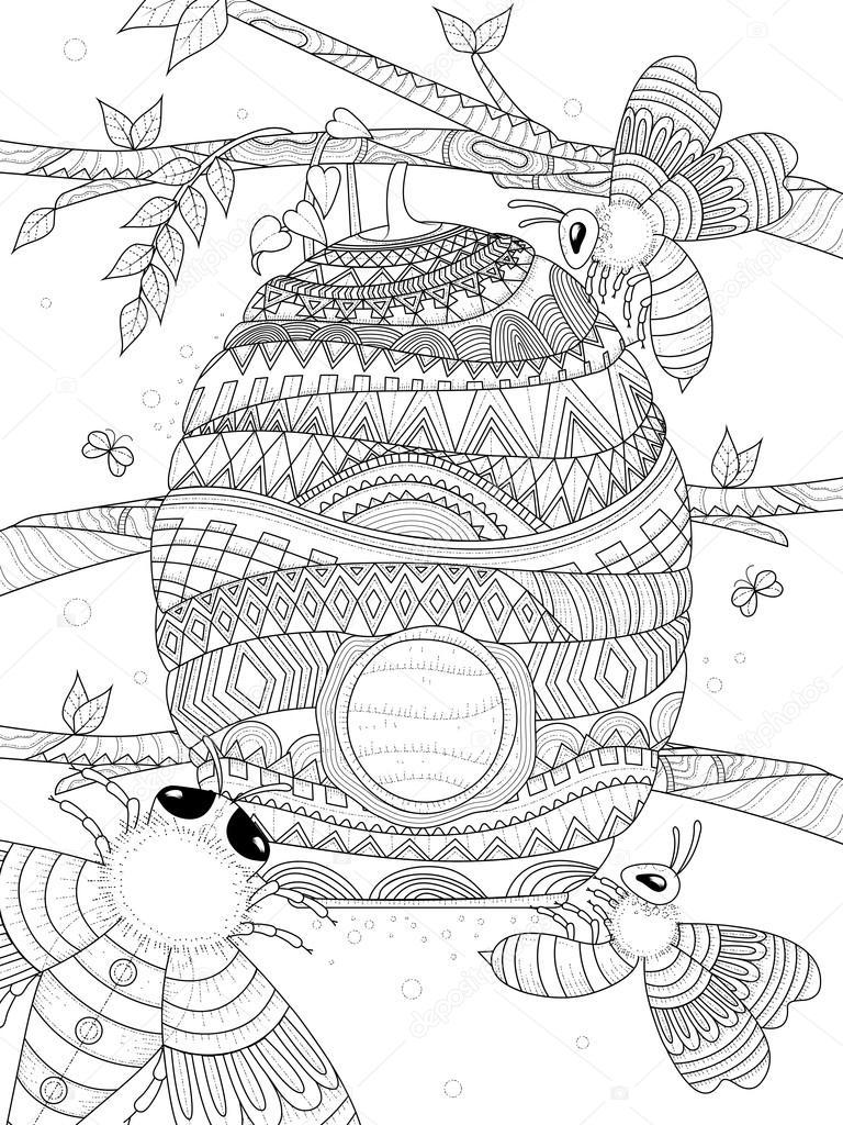 moscas de abejas alrededor del panal — Vector de stock © kchungtw ...