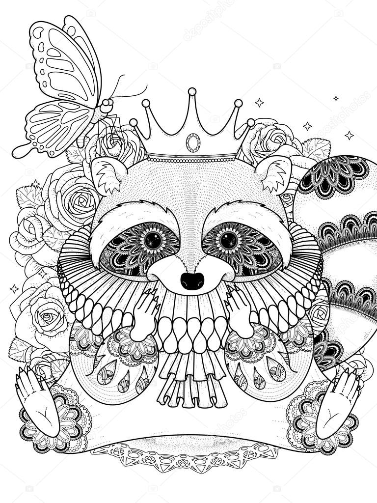 Coloring pages raccoon - Adorable Raccoon Coloring Page Stock Illustration