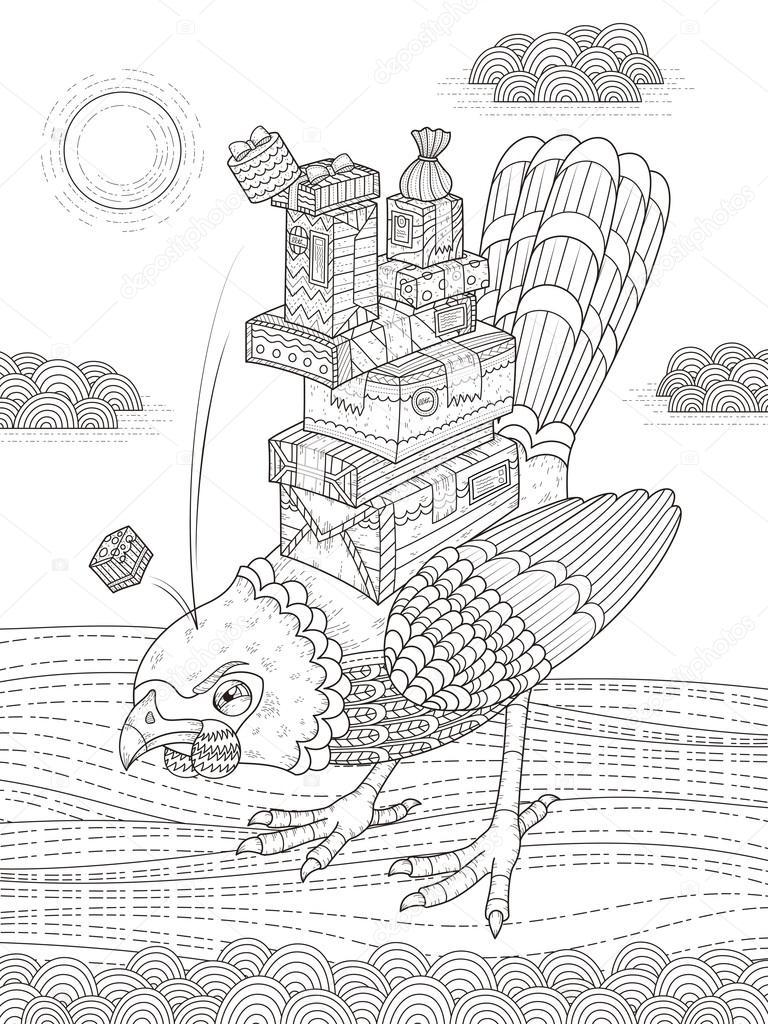 Página de adultos para colorear de aves enojado — Vector de stock ...