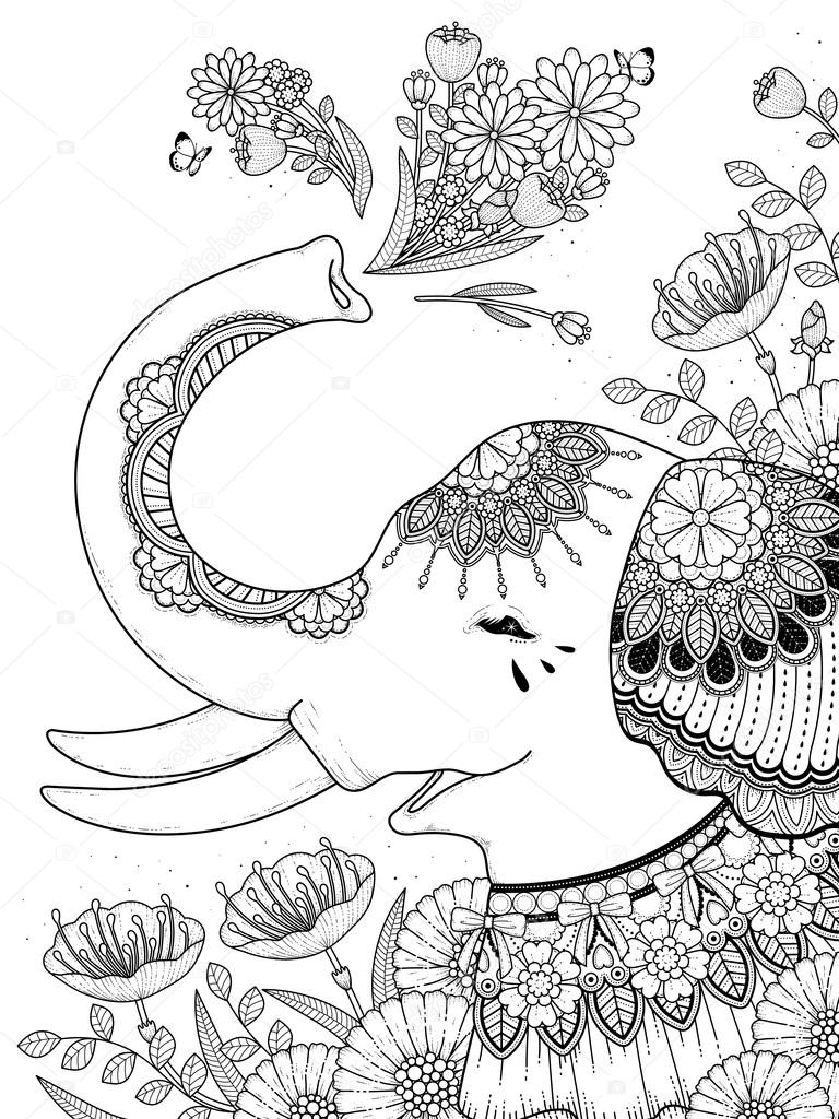 gorgeous elephant coloring page — Stock Vector © kchungtw #110162972