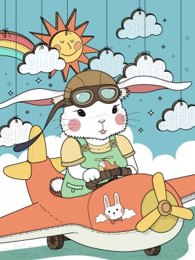 bunny pilot coloring page