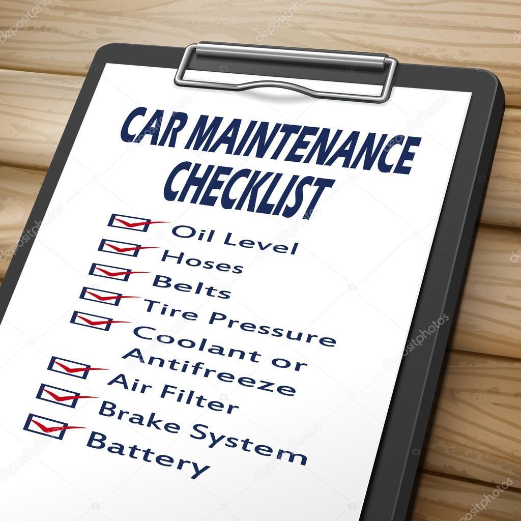 Car Maintenance Checklist >> Car Maintenance Checklist Clipboard Stock Vector