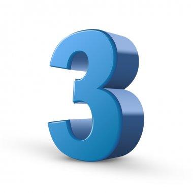 3d shiny blue number 3