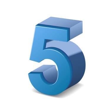 3d shiny blue number 5