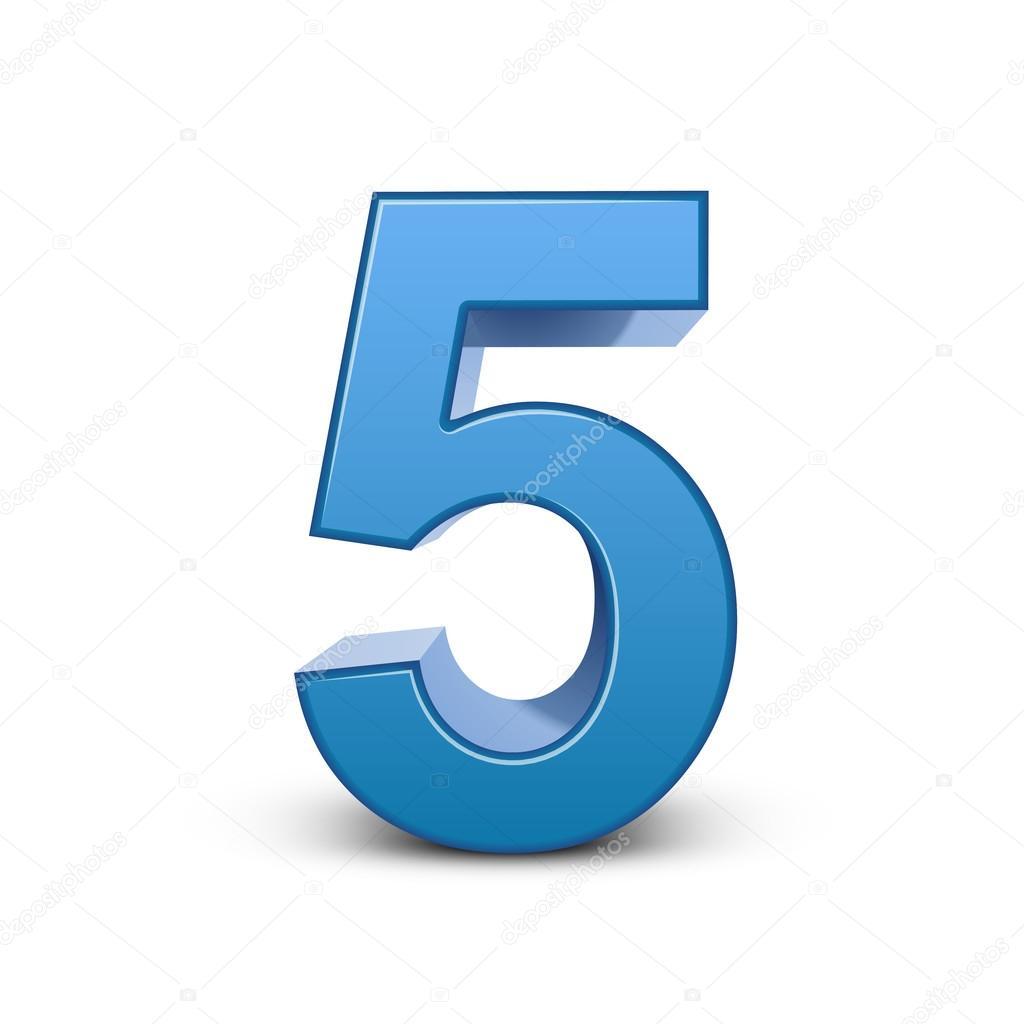 3d brillante azul número 5 archivo imágenes vectoriales kchungtw