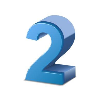 3d shiny blue number 2