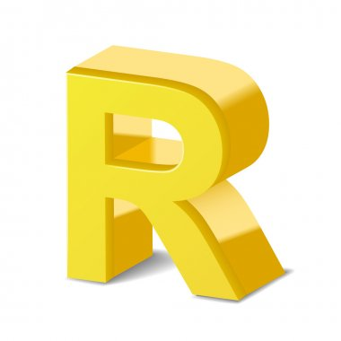 3d yellow letter R