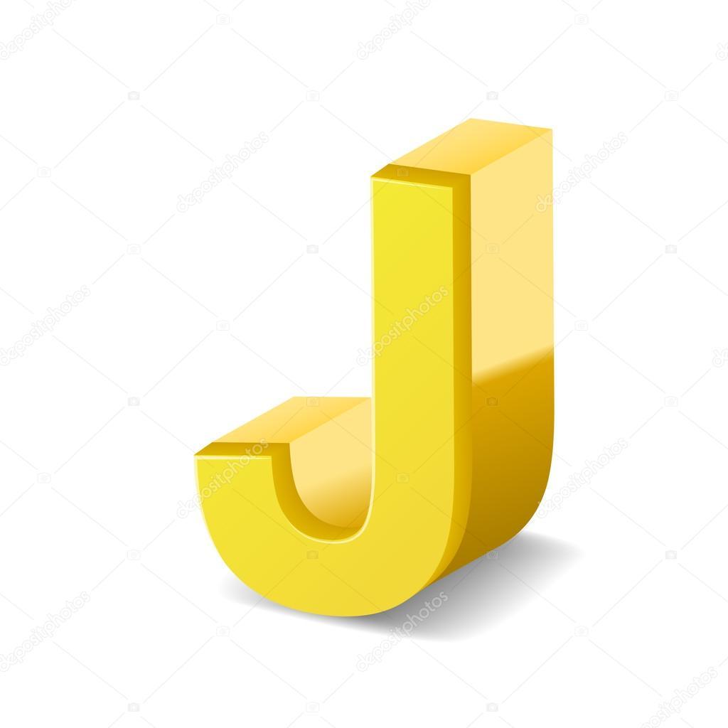 3d Yellow Letter J Stock Vector C Kchungtw 123174440