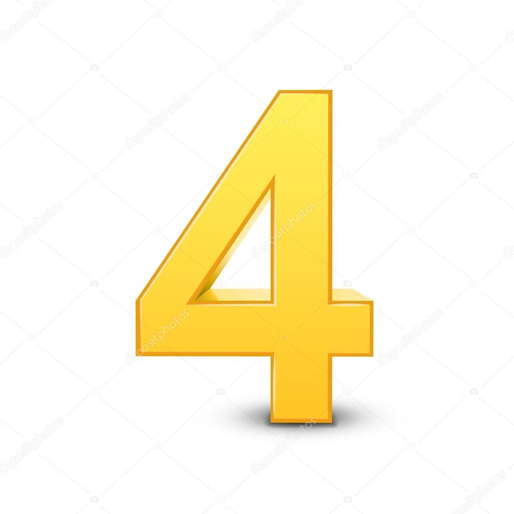 número amarillo brillante 3d 4 vector de stock kchungtw 123175256