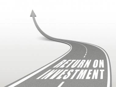 Return on investment words on highway road