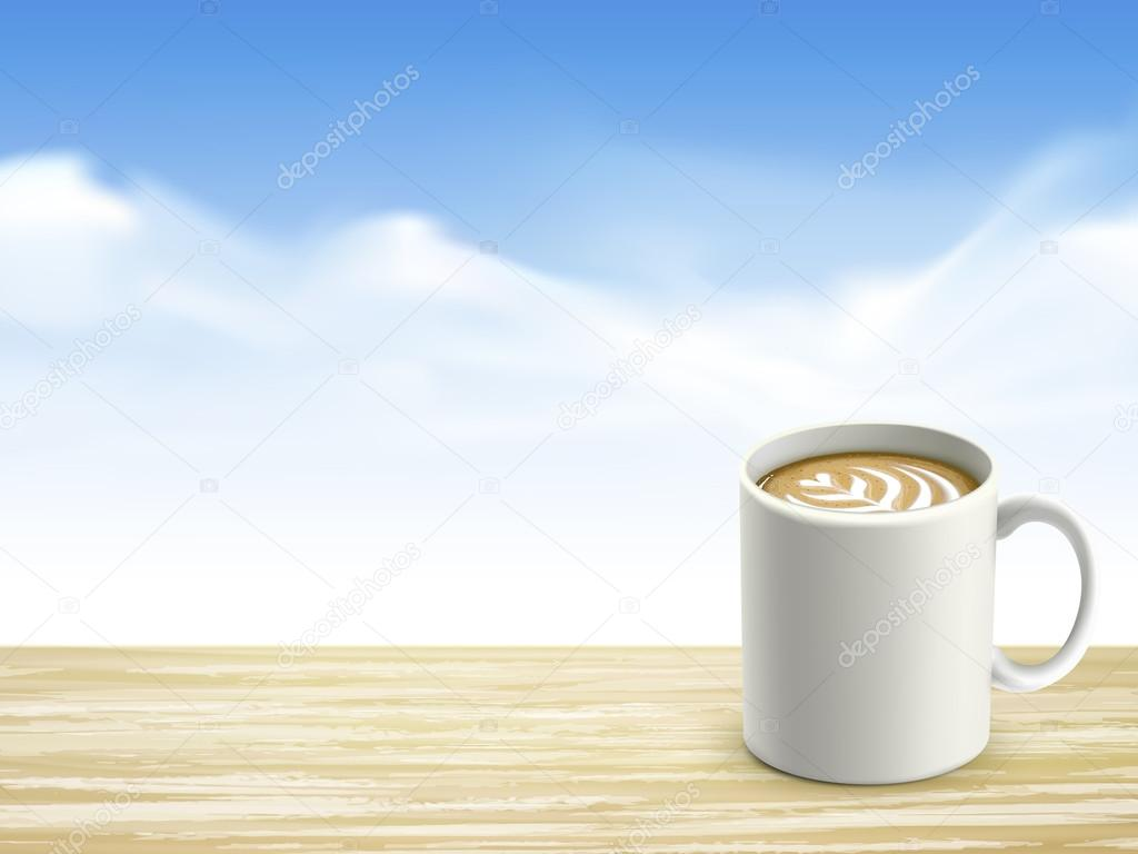 closeup of wooden desk and coffee over blue sky