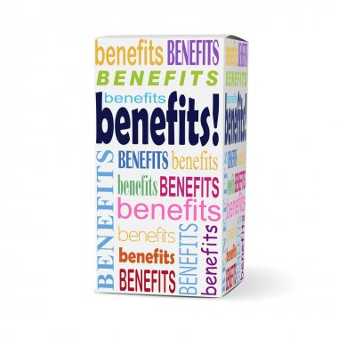 benefits word on product box
