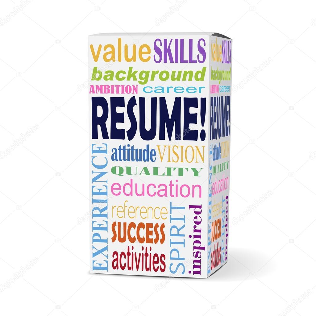 reanudar la palabra en la caja del producto — Vector de stock ...