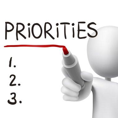 priorities word written by 3d man