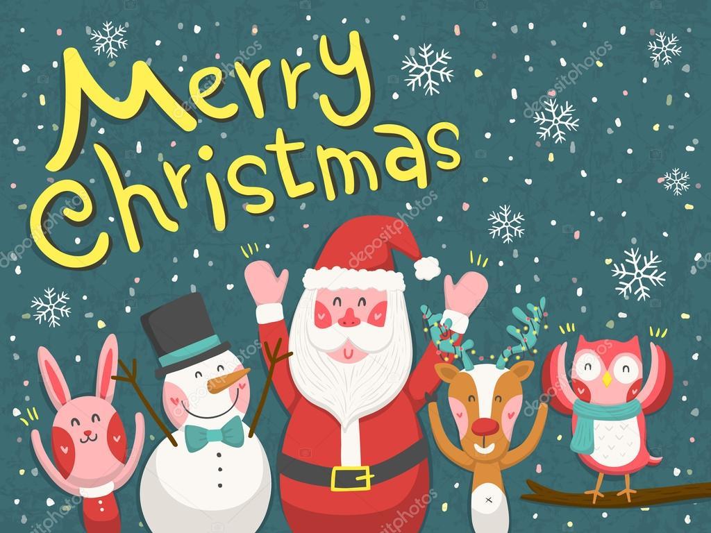 Frohe weihnachten grafik mit weihnachtsmann und tieren stockvektor kchungtw 52734559 - Grafik weihnachten kostenlos ...