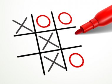 tic-tac-toe game with red pen over document