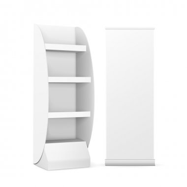 blank display with shelves and roll up banner