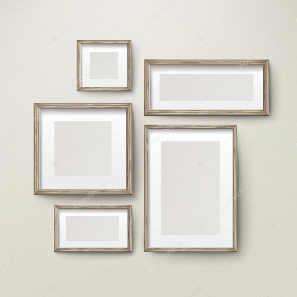 conjunto de plantillas de marcos de madera en blanco — Vector de ...