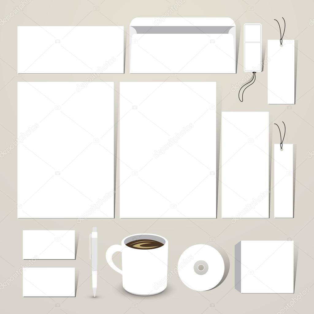 Blank Stationery And Corporate Identity Template Consist: Blank Stationery Set For Corporate Identity System