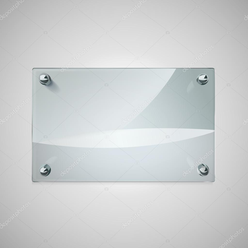 marco de cristal en blanco con remaches de metal — Vector de stock ...