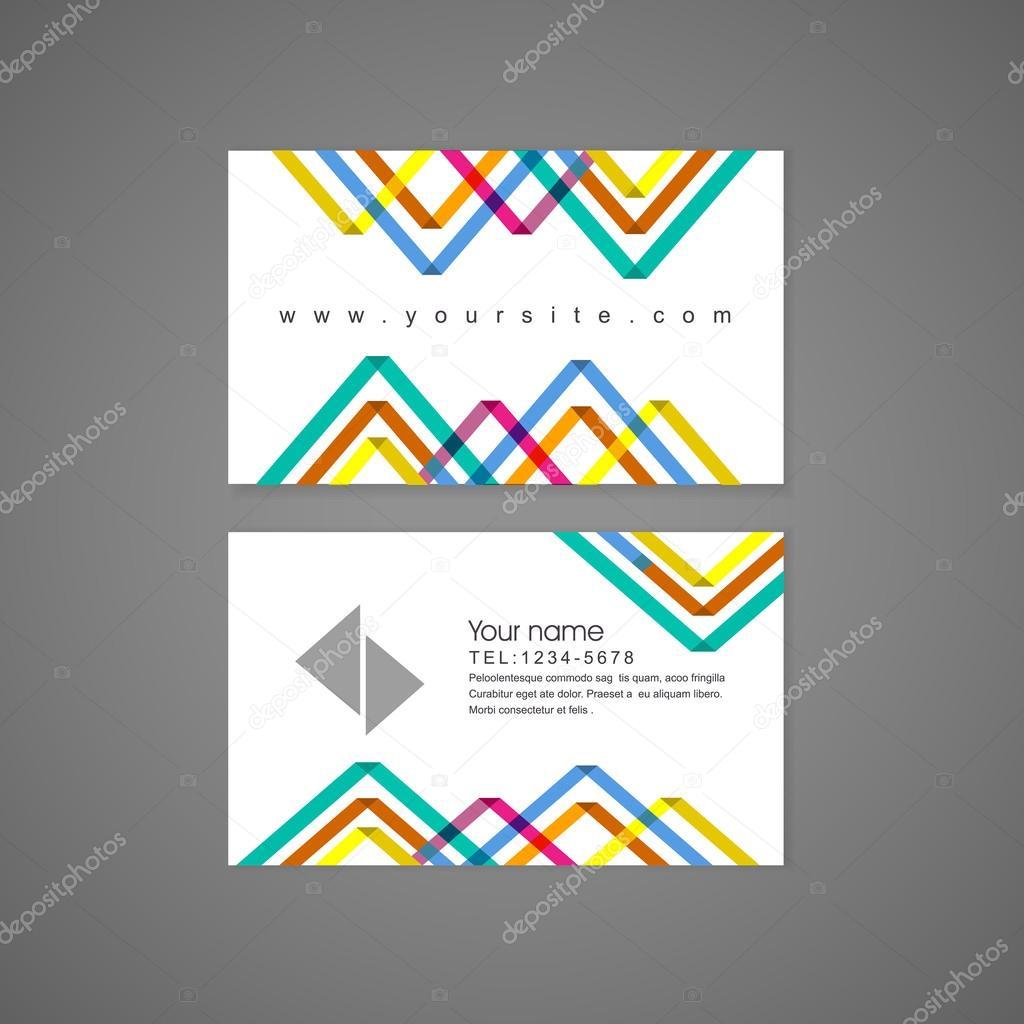 Modele De Carte Visite Triangle Colore Abstrait Motif Fond Vecteur Par