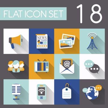 Social media icon set in flat design stock vector