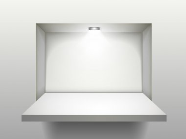 empty shelf with illumination