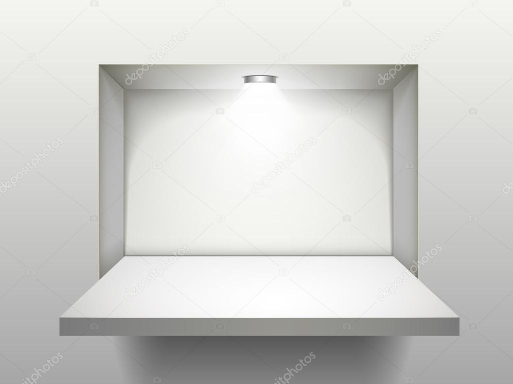 lege plank met verlichting — Stockvector © kchungtw #55836107
