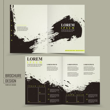 abstract Chinese calligraphy design for half-fold brochure