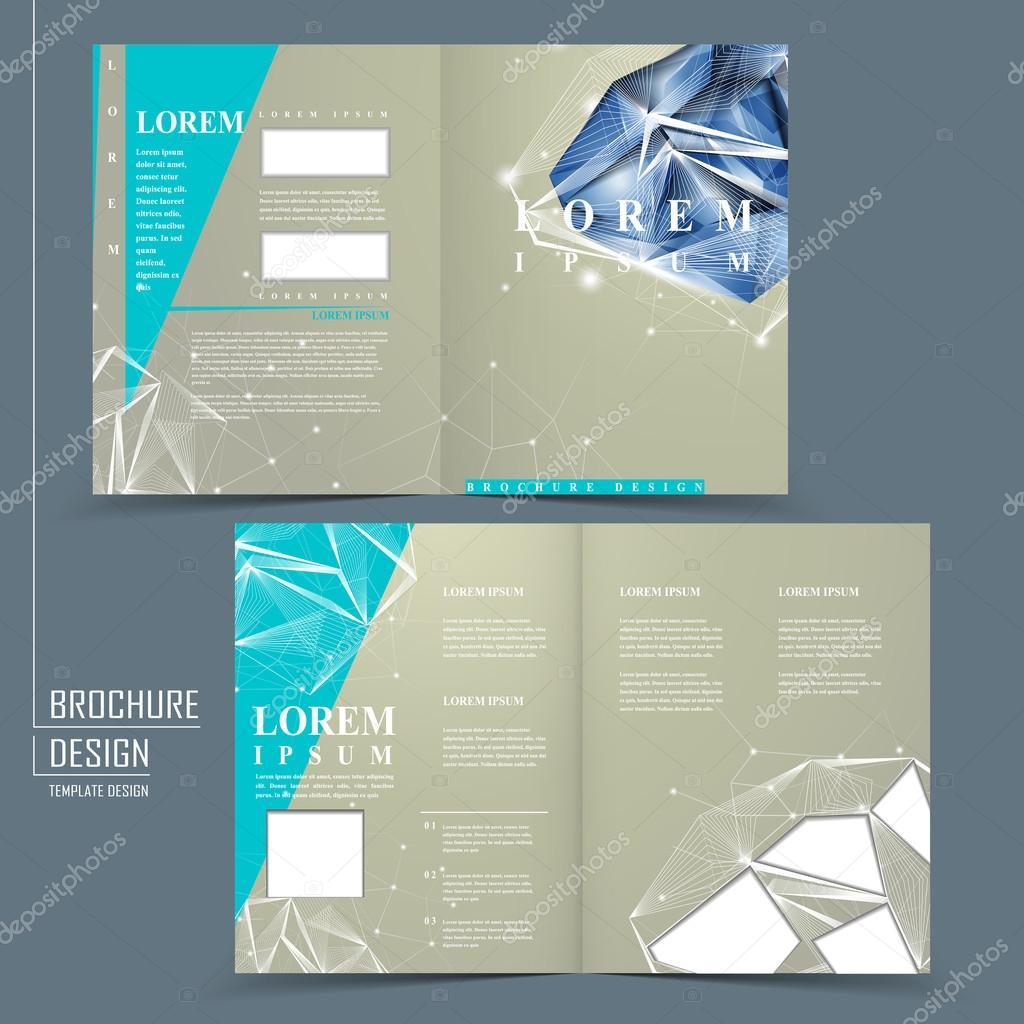 half fold brochure template with diamond element stock vector