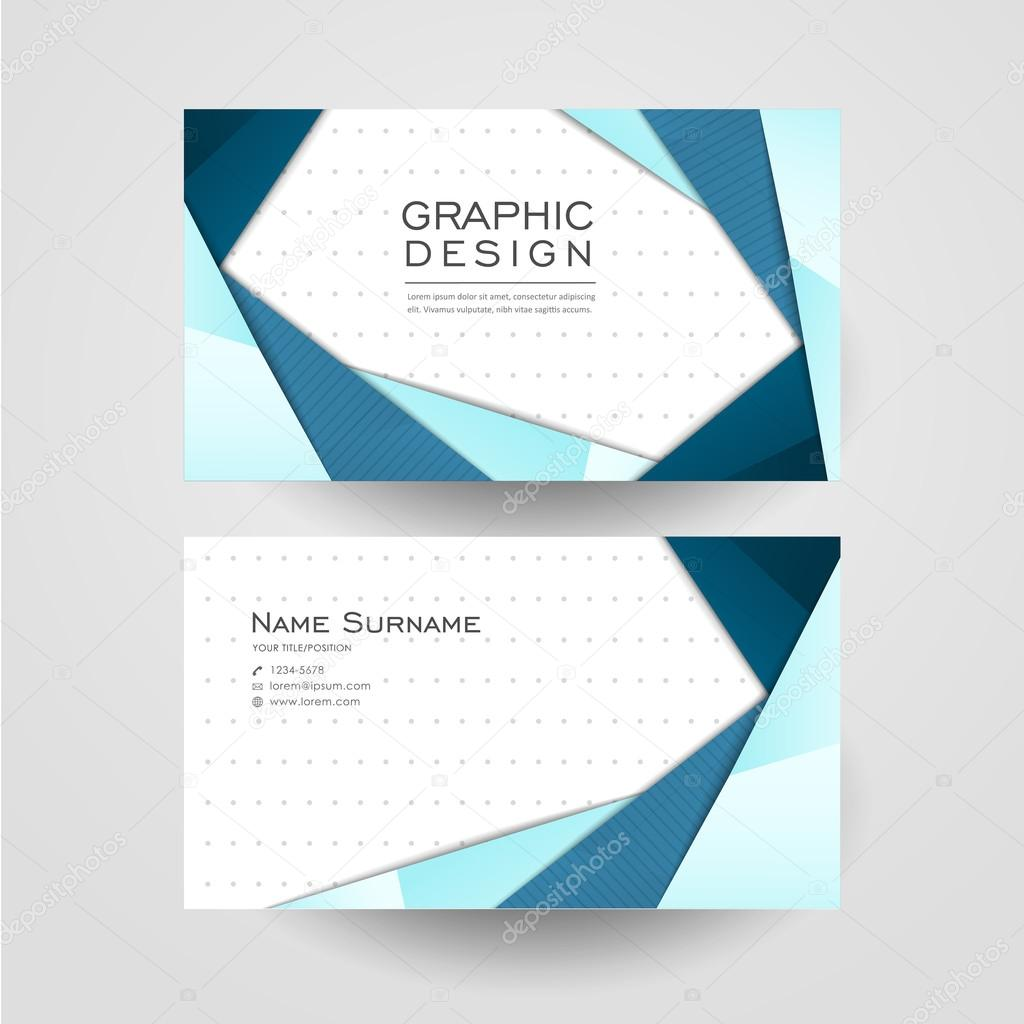 Modern Origami Style Design For Business Card Stock Vector
