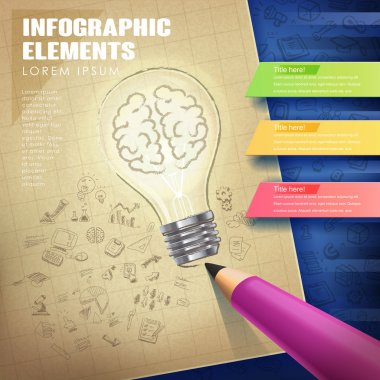 creative concept infographic with lighting bulb and pencil