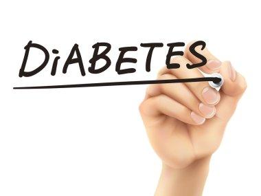 diabetes word written by 3d hand