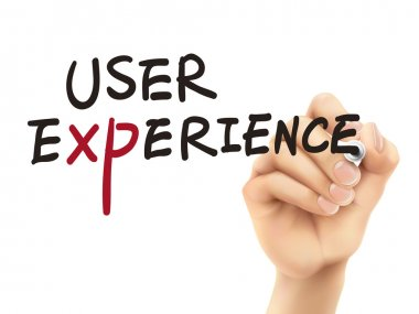 user experience words written by 3d hand