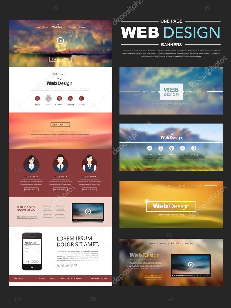 desenfoque de una plantilla de página web diseño con paisaje ...