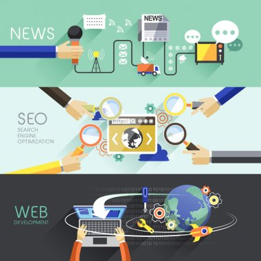 flat design of news, SEO and web