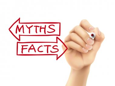 Myths or facts words written by hand